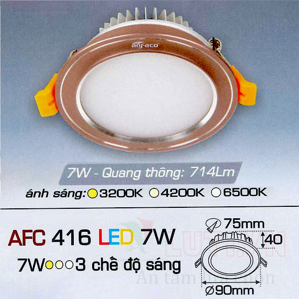 Đèn led âm trần AFC-416-7W-3CĐ