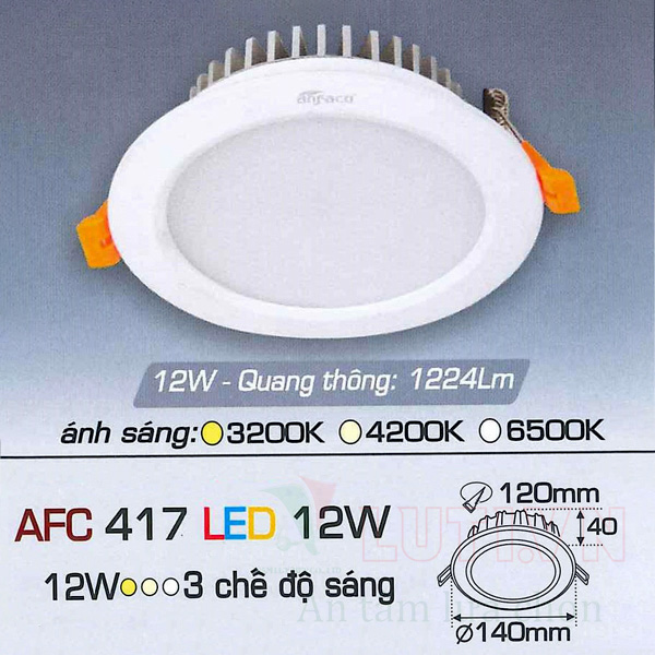 Đèn led âm trần AFC-417-12W-3CĐ