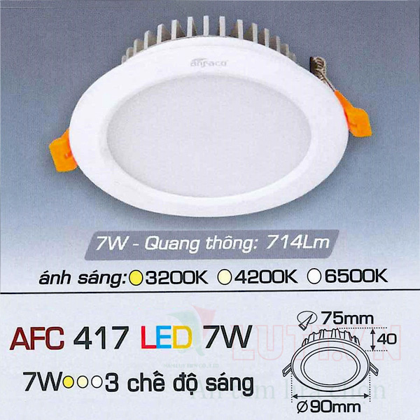 Đèn led âm trần AFC-417-7W-3CĐ