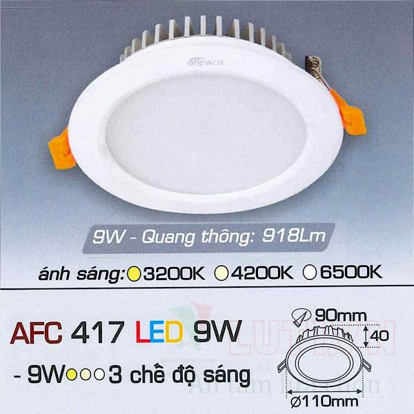 Đèn led âm trần AFC-417-9W-3CĐ